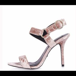 🇬🇧 Topshop pink crushed velvet sandals